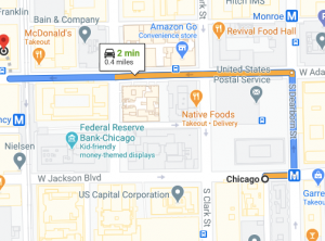 map 1 to GMAT test center in Chicago