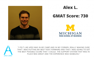 After working with Apex I scored a 730 on the GMAT