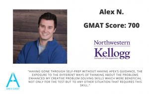 After working with Apex I scored a 700 on the GMAT
